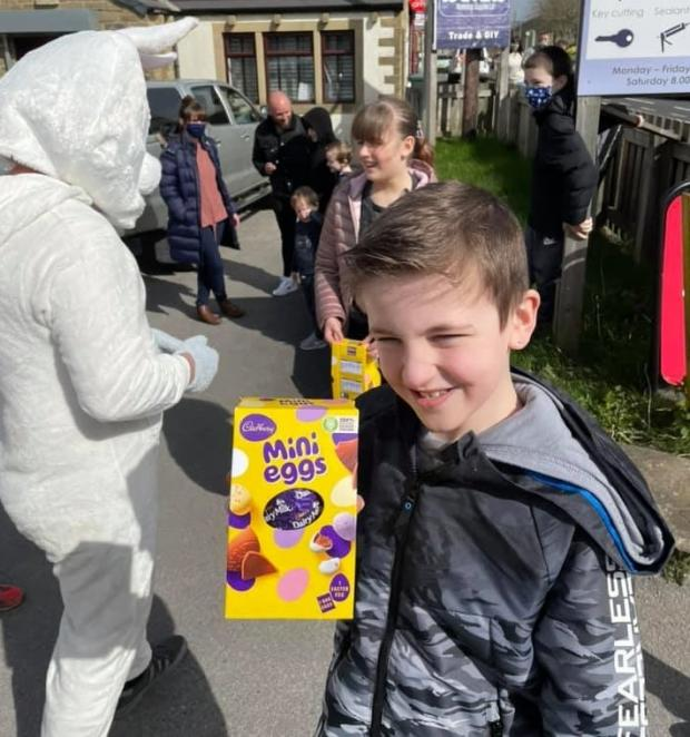Keighley News: A youngster with one of the chocolate eggs