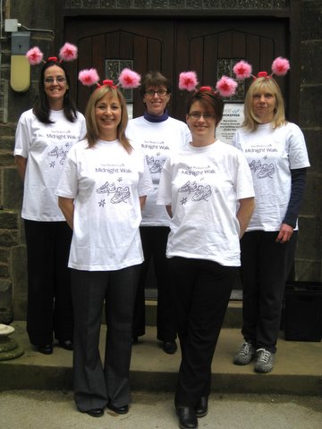 Preparing for the Manorlands Midnight Walk – from left, back, Samantha Bradshaw, Kim Reddyhoff and Kathy Warburton, and, front, Peter Warburton's widow Jackie and daughter Claire Hugo