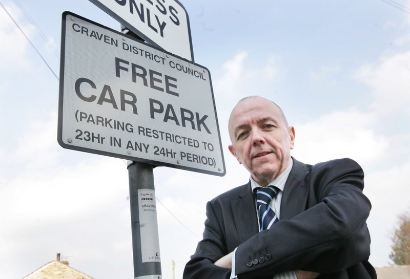 Councillor Graham Beck at one of the Cross Hills car parks