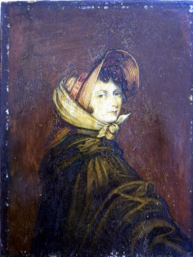 An image issued by P Humbert Auctioneers of the portrait they believe to be of Emily Bronte