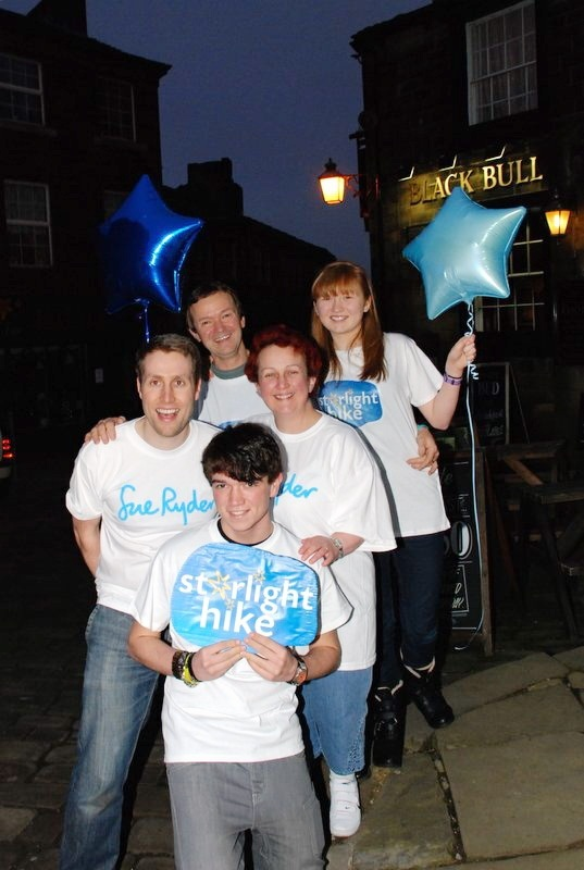 Preparing for the Starlight Hike for Manorlands are the Birch family (from front) Adam, Sue Ryder fundraiser Richard Martin, mum Helen, Andrew and Chloe