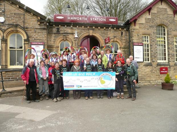 Fair Trade Way walkers with the Rainbow Morris dancers at Haworth Station