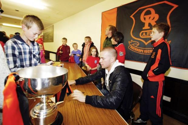 Tom Cleverley signs autographs at Oxenhope's official opening