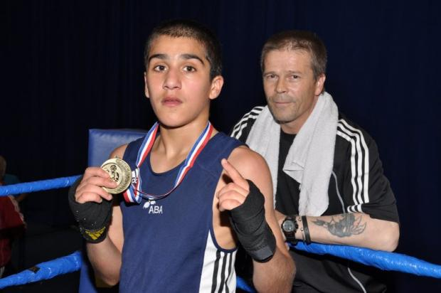 Three Nations champion Danish Muhammad and delighted coach Mike Jelley