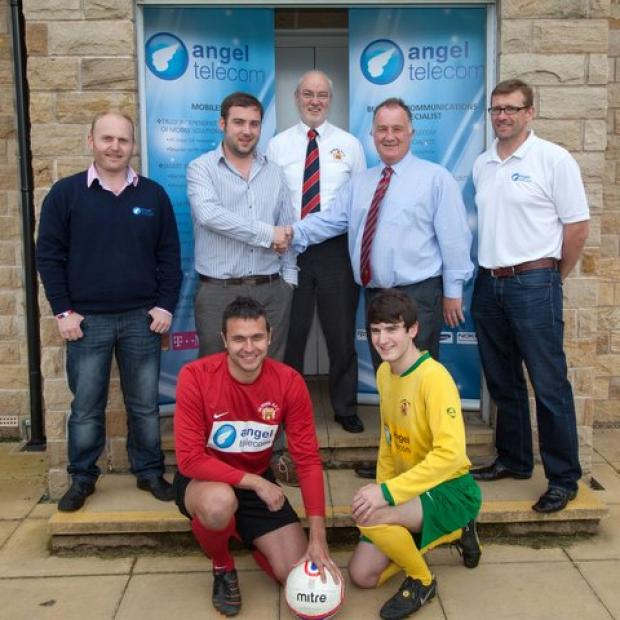 Back, from left, Johann Shepherd and Daniel Farmer (both Angel Telecom directors), Barry Thomas (Silsden commercial secretary), Sean McNulty (Silsden chairman), Stuart Hudson (Angel managing director); front, club captain James Nettleton, Matthew Moses
