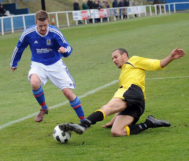 Charlie Flaherty, pictured playing for Eccleshill United, was instrumental in their defeat by his new club Albion Sports