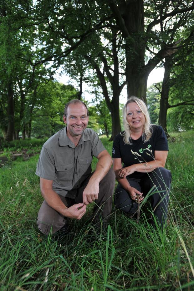 Jen Miles and Ian Butterfield from the Swartha Wood project in the woods next to Stoney Ridge Plantation