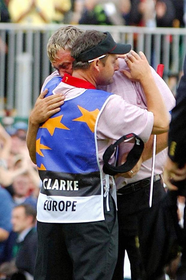 Billy Foster with Darren Clarke after winning a key Ryder Cup match during Europe's victory at the K Club in 2006