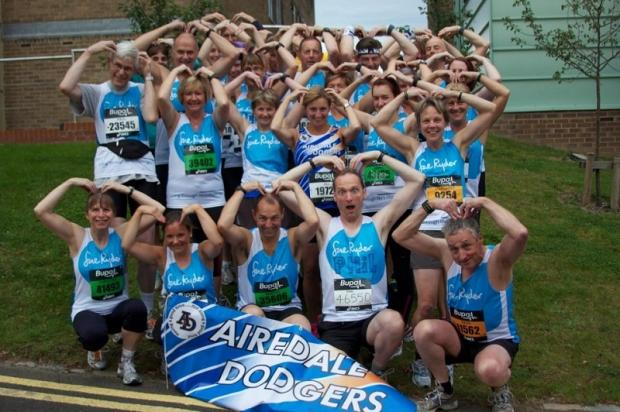 The Airedale Dodgers Running Club, part of the Manorlands team in the Great North Run, prepares Mo Farrah-style before the event