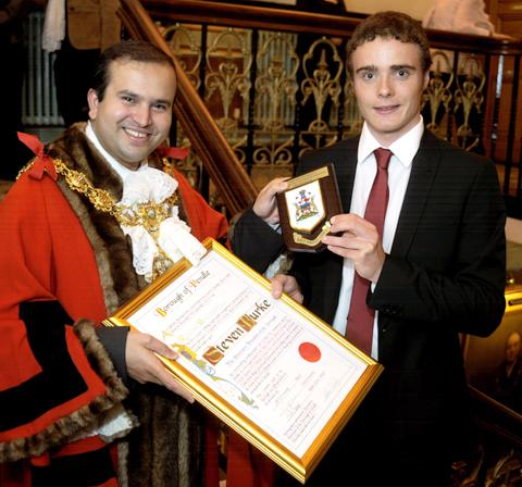 Keighley News: Steven Burke becomes a freeman of Pendle
