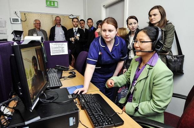 Some of the members of the European Richard project teams visiting the Telehealth Hub at Airedale Hospital