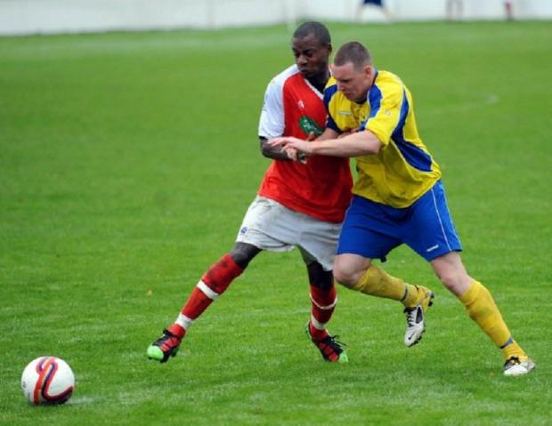 Brice Tiani, left, was on target for Thackley against Nostell MW