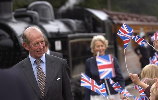 The Duke of Kent arriving at Oxenhope station to meet local children on a visit in 2008