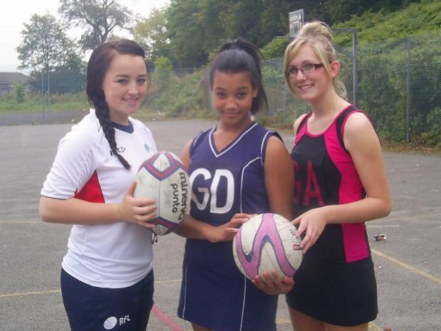 From left to right, Oakbank pupils Jessica Courtman, Amy Manning and Stacey Rooke