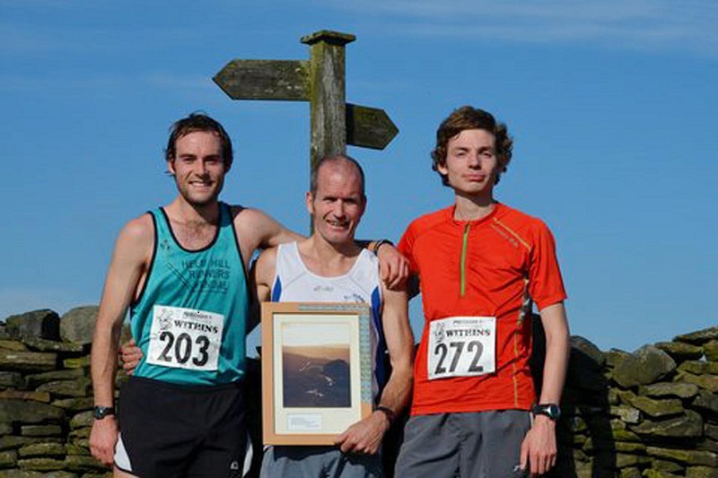 Ian Holmes with his fifth Withins picture trophy alongside runner-up Mark Addison, left, and Chris Smithard, right; Pictures: Dave Woodhead