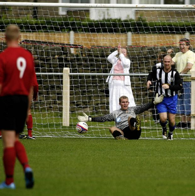 Former Silsden goalkeeper Chris Thompson was in superb form for Colne against the Cobbydalers