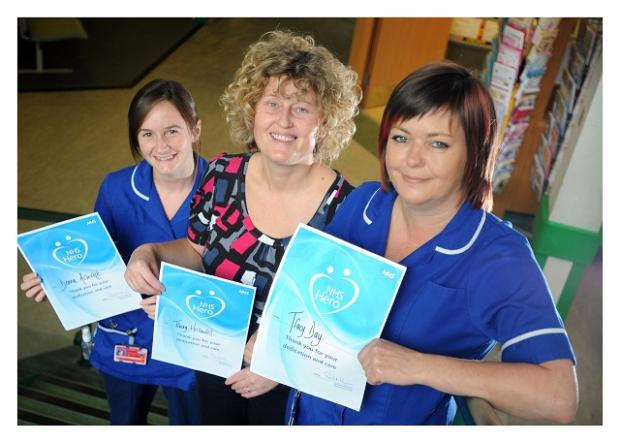 From the left, staff nurse in paediatrics Donna Ashcroft, heart failure specialist nurse Tracey Hellawell, and staff nurse Tracy Day with their