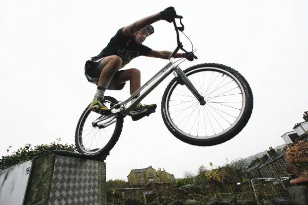 Keighley News: Wheely hot prospect: Jack Carthy shows off some of the skills which have brought him international recognition in bike trials