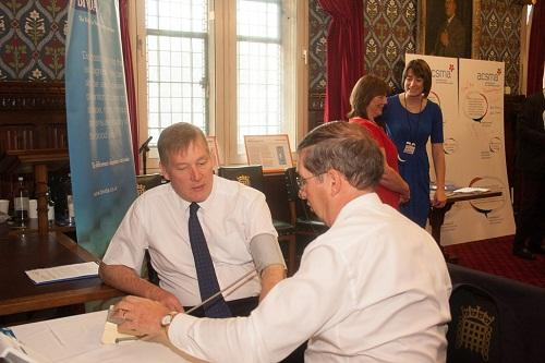 Keighley MP Kris Hopkins has his blood pressure checked as part of the BIVDA cardiac health testing day