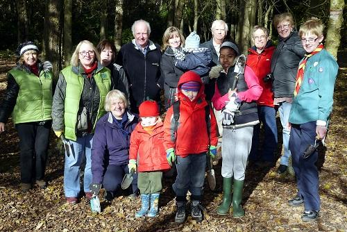Youngsters and adults who took part in the bulb planting at the St Ives Estate