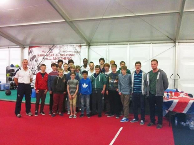 Oakbank pupils with England coach Stuart Lancaster