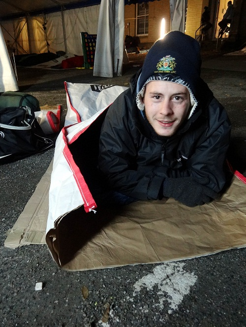 Luke Dennison taking part in the sleep out