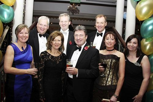 At the beef and beer dinner are, from left, Bev Jenkins (Barclays Corporate), David Richmond (Robertshaw Myers), Julia Lister (Gordons LLP), Mark Hutchinson (Harrison and Clough Ltd), Alan Titchmarsh, Charles Dent (Timothy Taylor), Catherine Hill (Stirk L