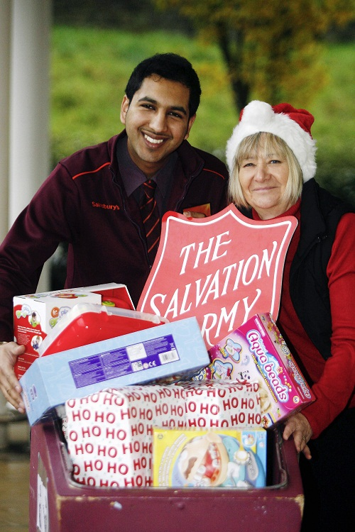 Salvation Army Keighley development manager, Chris Bown, launches the appeal with Kulbir Lally, customer service manager at Keighley Sainsbury's store, where toys can be dropped off