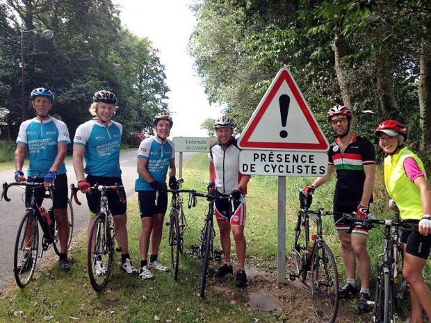 Richard Nelson, third from left, with some of his fellow charity cyclists in France before his accident