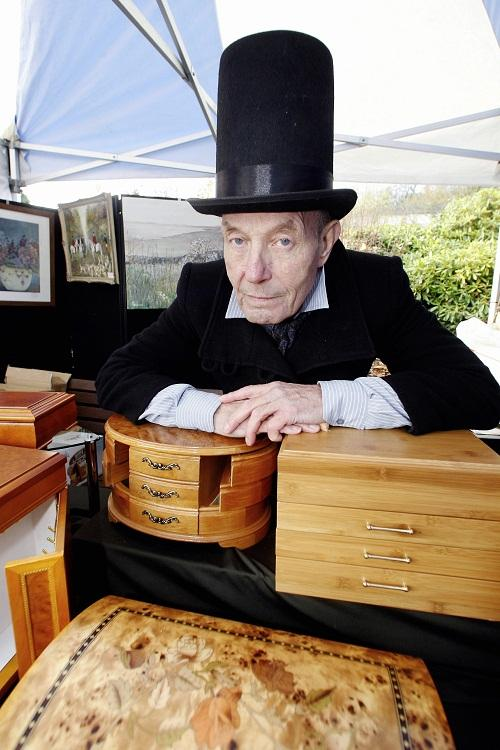 Paul Reynolds displays some of the jewellery boxes on his stall