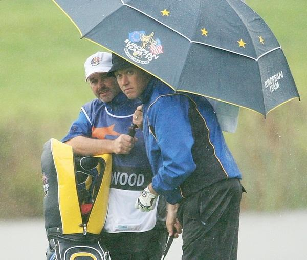 Billy Foster caddying for Lee Westwood during the Ryder Cup