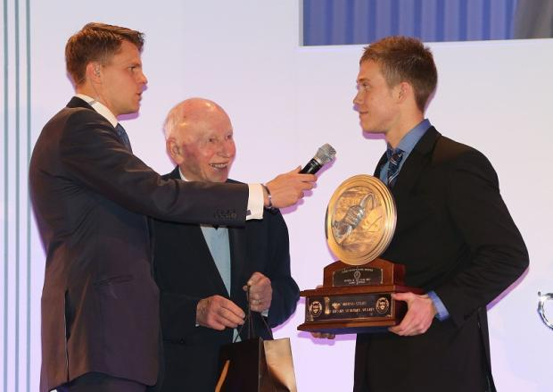 Cullingworth's Jack Hawksworth is interviewed by BBC presenter Jake Humphrey after receiving the Henry Surtees Award from motorsport legend John Surtees