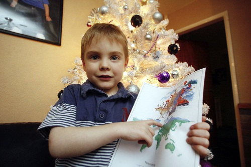 Leukaemia sufferer Jack Jeff, who was treated to a trip to see Santa in Lapland
