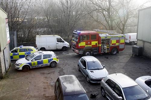 Emergency services vehicles at Autocraft after last week's incident