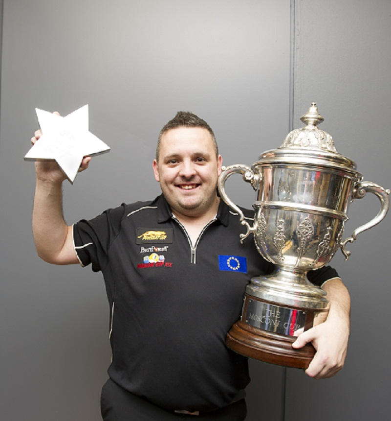 Chris Melling shows off the Most Valuable Player award and the Mosconi Cup Picture:JP Parmentier/Matchroom Pool