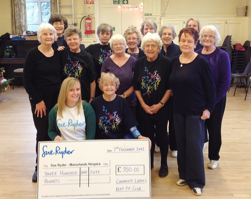 Cononley Ladies Keep Fit Group has presented another £350 cheque to Sue Ryder's Manorlands Hospice