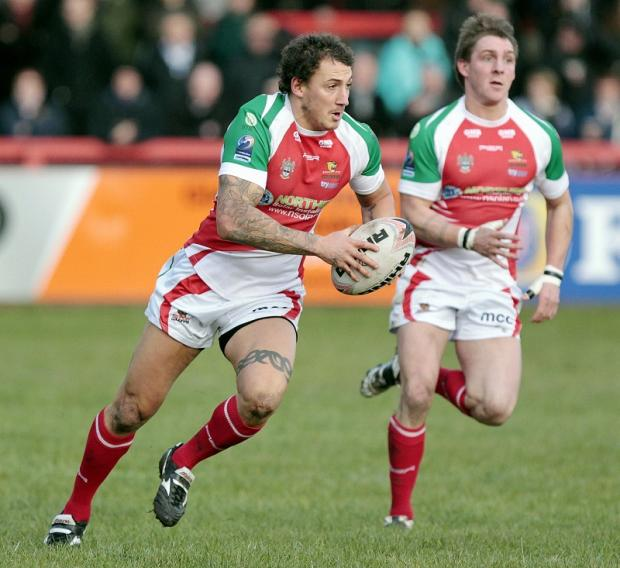 Daley Williams is on the charge for Keighley Cougars against Halifax. Picture: Charlie Perry