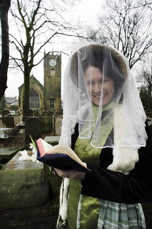 Bronte re-enactor Lynne Cunliffe in period costume to celebrate the 200th anniversary of Maria Bronte's marriage