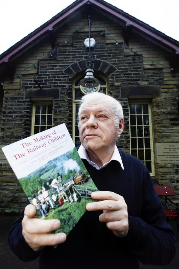 Jim Shipley, of the Keighley & Worth Valley Railway, with his book The Making of The Railway Children