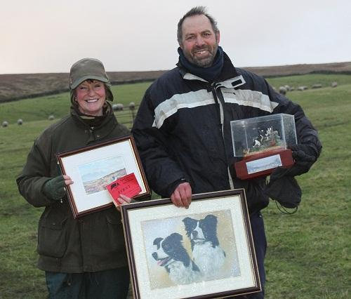 Sheepdog trial winners Thomas Longton, of Quernmore, and Elaine Hill, of Oxenhope