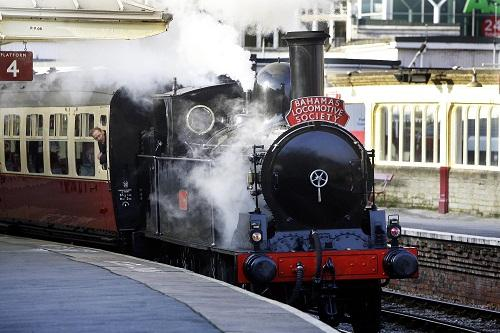 The Coal Tank, for which the Bahamas Locomotive Society was nominated, pulls a special train out of Keighley station