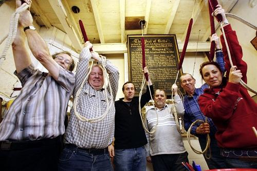 Bellringers Bob Schofield, Simon Burnett, Peter Tiley, Miles Lawson, Barrie Dove and Joanne Nice prepare to ring the changes at Haworth Parish Church to celebrate the recent Bronte anniversary