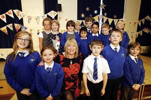 Retiring Long Lee Primary School executive headteacher Louise Smith with the school's council members