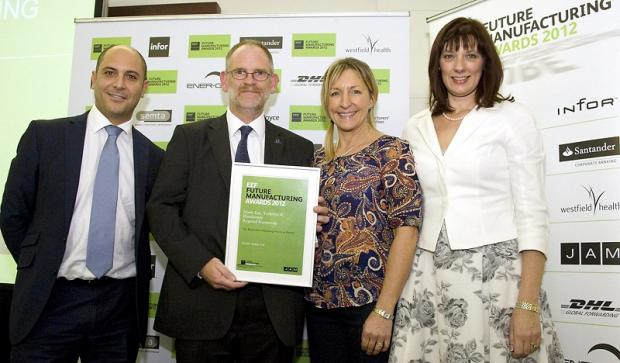Pictured at the EEF awards are, from left, Zack Georgiou of sponsor JAM Recruitment, Airedale Springs'