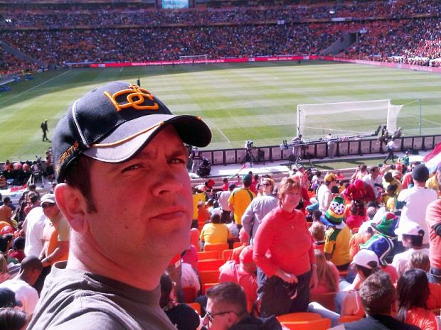 Nigel Burgan, pictured at Soccer City during the World Cup, will watch the game in Johannesburg