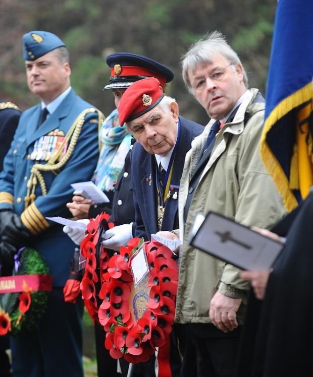 Keighley News: Peter Faulkner, President of the Keighley branch of the Royal British Legion, was among the guests at the memorial service
