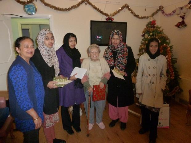 Members of the Ahmadiyya Muslim Women's Association during their visit to the Norwood House nursing home