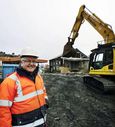 Sam Bailey, of Bingley Demolition, at the site being cleared for the Worth Valley Shopping Centre development