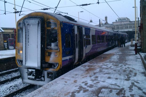 A snow-bound Keighley railway station