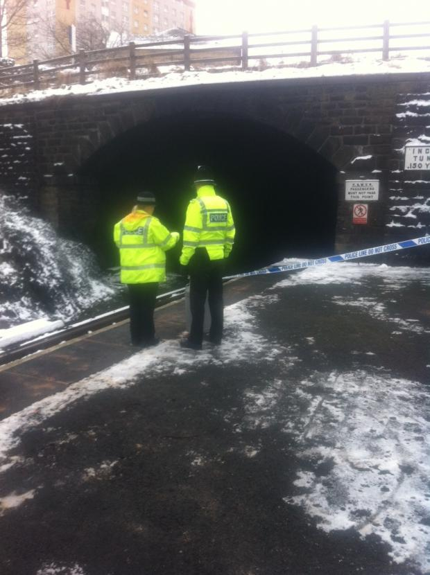 The taped-off scene at Ingrow rail tunnel (photo: Chris Maguire)